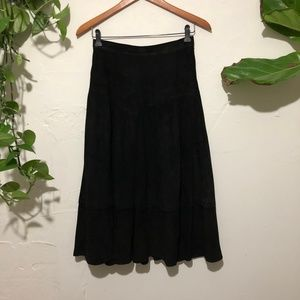 100% Suede Leather Black Midi Skirt Size 6/8